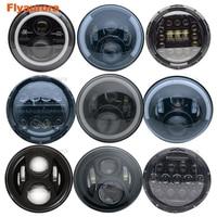 Flyaurora 7inch LED Headlight DRL Angle Eye Hi Low Turn Signal Driving Light Led Headlamp 12V for Jeep Wrangler Lada Niva