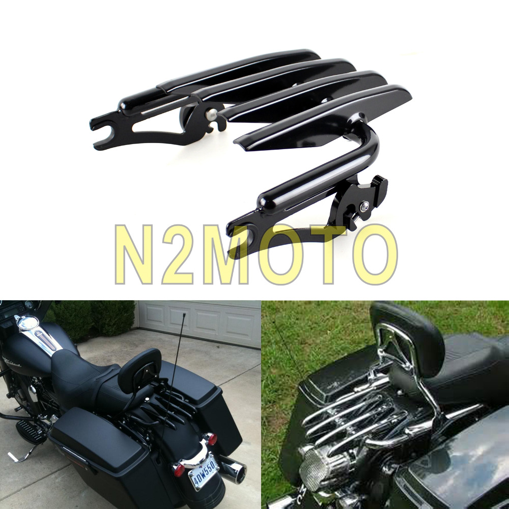 Black Motorcycle Detachable Stealth Luggage Rack Harley Touring Road King Street Electra Glide FLHR FLHX FLHT
