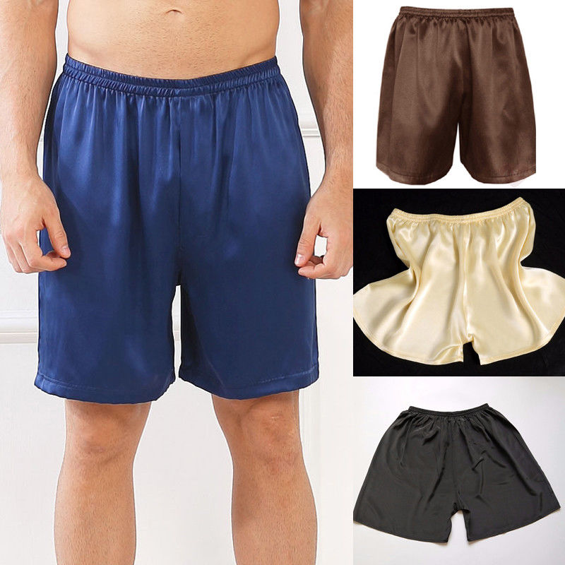 Male Mens Satin Silk Pyjama Shorts Boxers Trunks Loose Sleepwear Nightwear #@