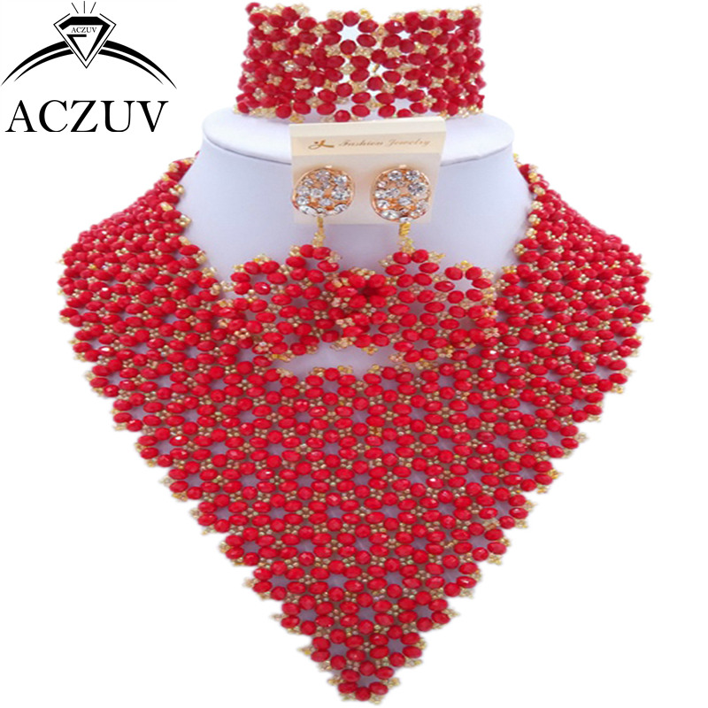 ACZUV Brand Opaque Red African Beads Jewelry Set for Women Wedding Party Bridal Jewelry Sets AJ005 aczuv brand opaque red african jewelry set nigerian wedding beads art005