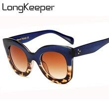 LongKeeper Cat Eye Vintage Sunglasses Women 2018 Fashion Leopard Sun G