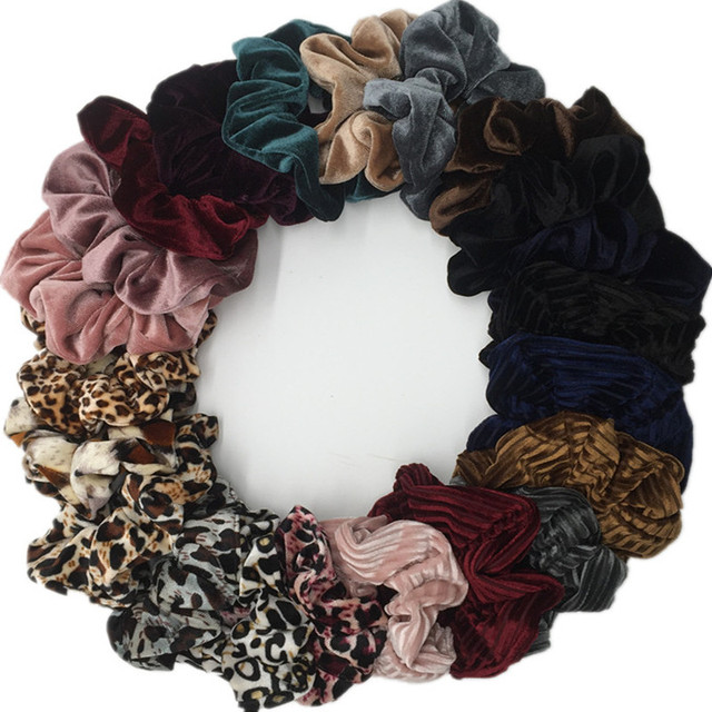 6 pcs lot Velvet Elastic Hair Ropes Scrunchies Girls  No Crease Hair Ties  leopard Women large small glitter chiffon floral-in Women s Hair  Accessories from ... 92b96a05324