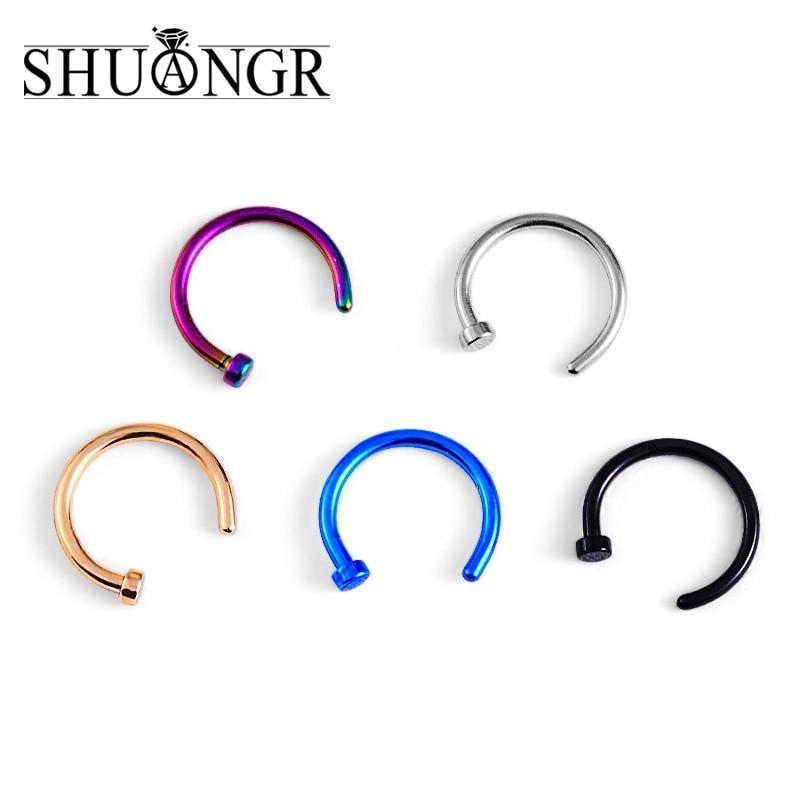 SHUANGR медицинские Титан панк клип на поддельный пирсинг тела нос губы кольца унисекс нос кольцо Для женщин перегородки Пирсинг Клип 5 цветов