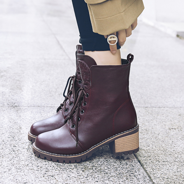 Women boots Doc Martens 2018 Vintage british genuine classic boots Martin  thick boots motorcycle heel Boot Feminina 56a70bdfe145