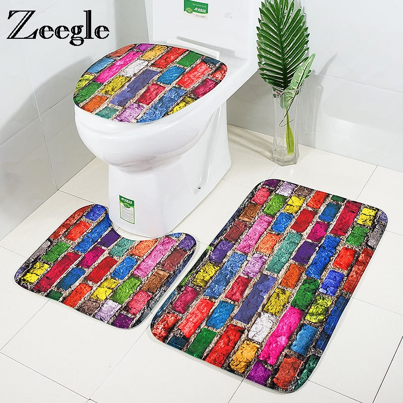 Football Bastetball Printed Toilet Mats Funky 3pcs Set Shower Bathroom Rugs
