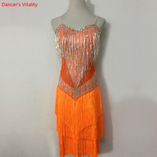 Custom made Latin dans elbise kadın kızlar Rumba Samba cha cha Salsa balo salonu yarışması kostüm giyim elmas dans elbise