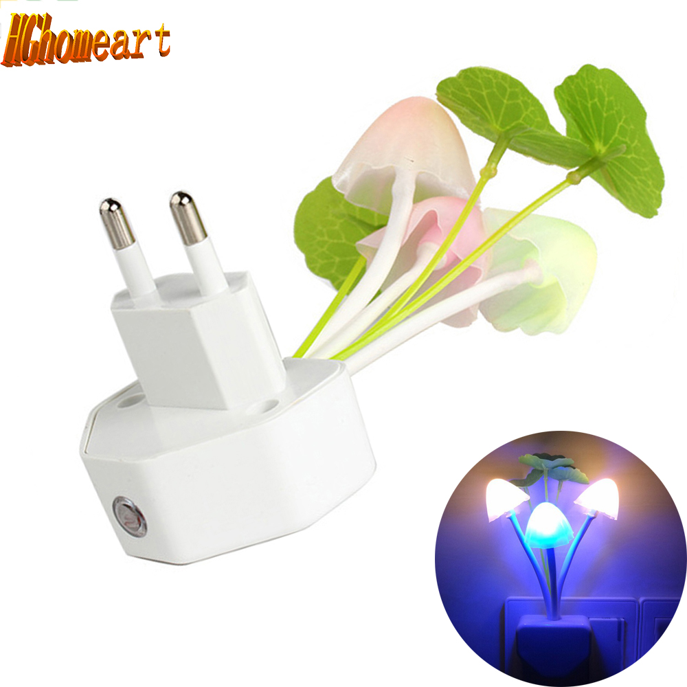 light sensor led color change baby room led night light Automatic control Lamp 110V 220V EU US Plug mushroom Night lights color change remote control led animal shape night light
