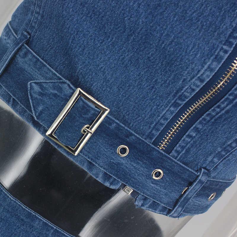 Tobinoone молнии джинсовые комплект из двух предметов Для женщин летние без рукавов комплект: укороченный топ и юбка хлопок Повседневное женские наборы сексуальные Клубные