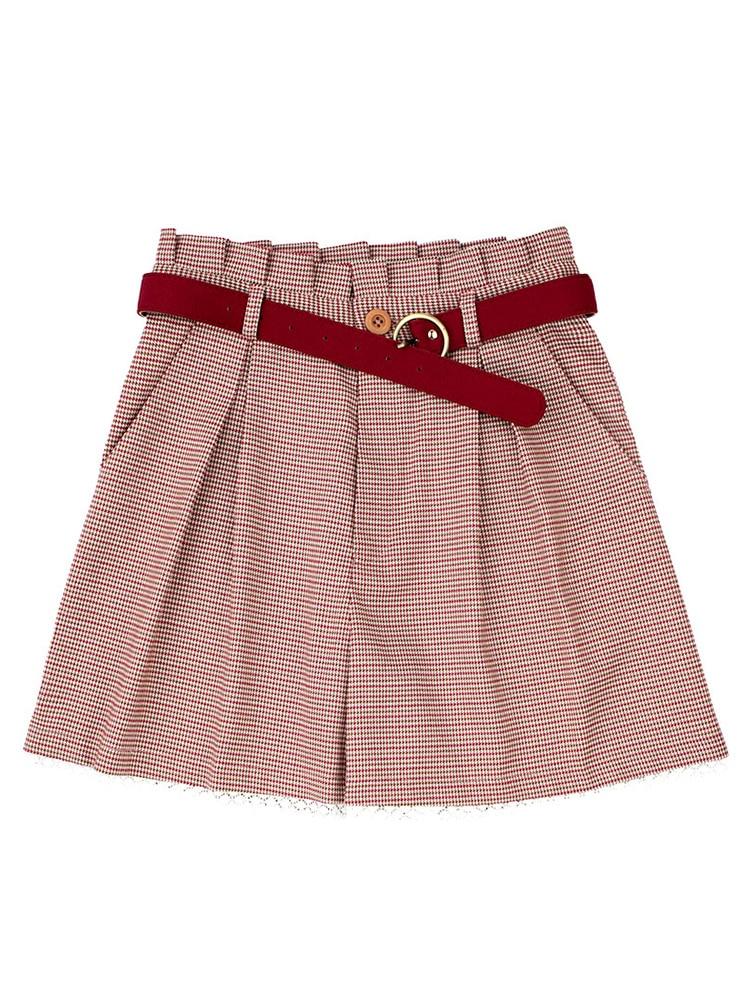 Shorts Inclus Chinoiserie Originale Rouge Inaugural Conception Français Femmes Lynette's Droite Dentelle Millésime Plaid D'été Ceinture 6A7wnqd4