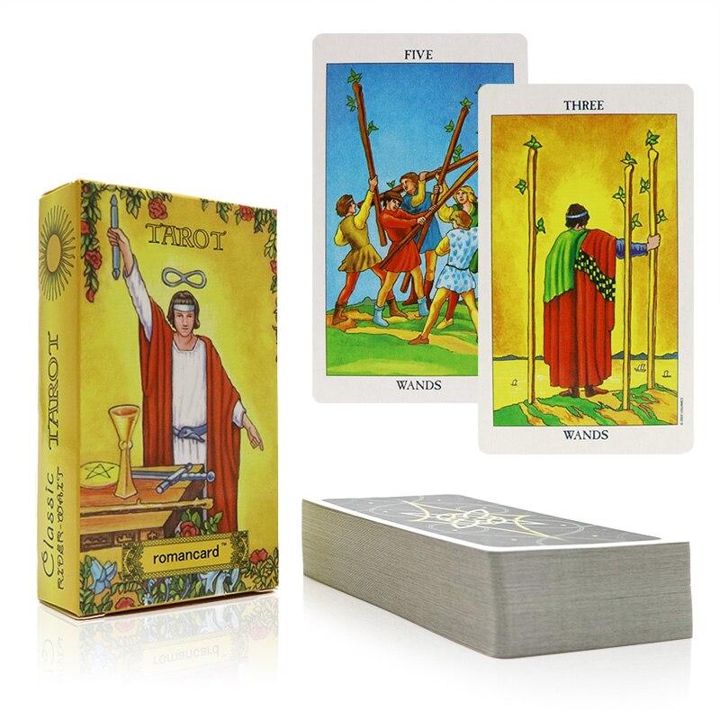 Romancard jinete tarot tarjetas con la bolsa hermosa para la adivinación uso personal tarot cubierta versión completa inglés