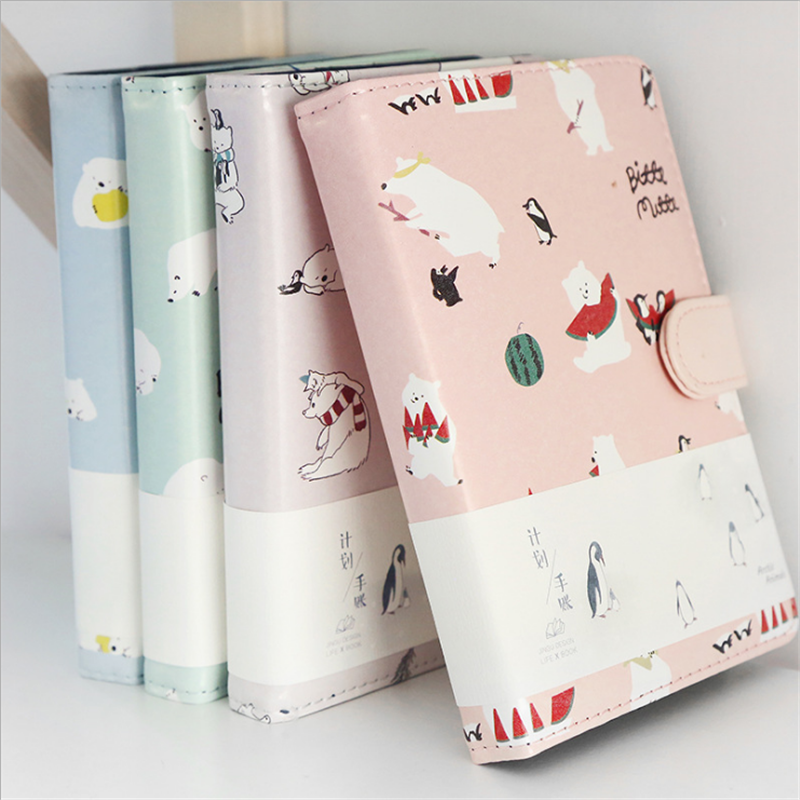 Trochilus Cute bear leather notebook kawaii notepad agenda 2018 leather daily planner school stationery supplies gift for girl 1pc kawaii and cute notebook paper lovely red hat girl agenda week day planner journal record stationery office school supplies
