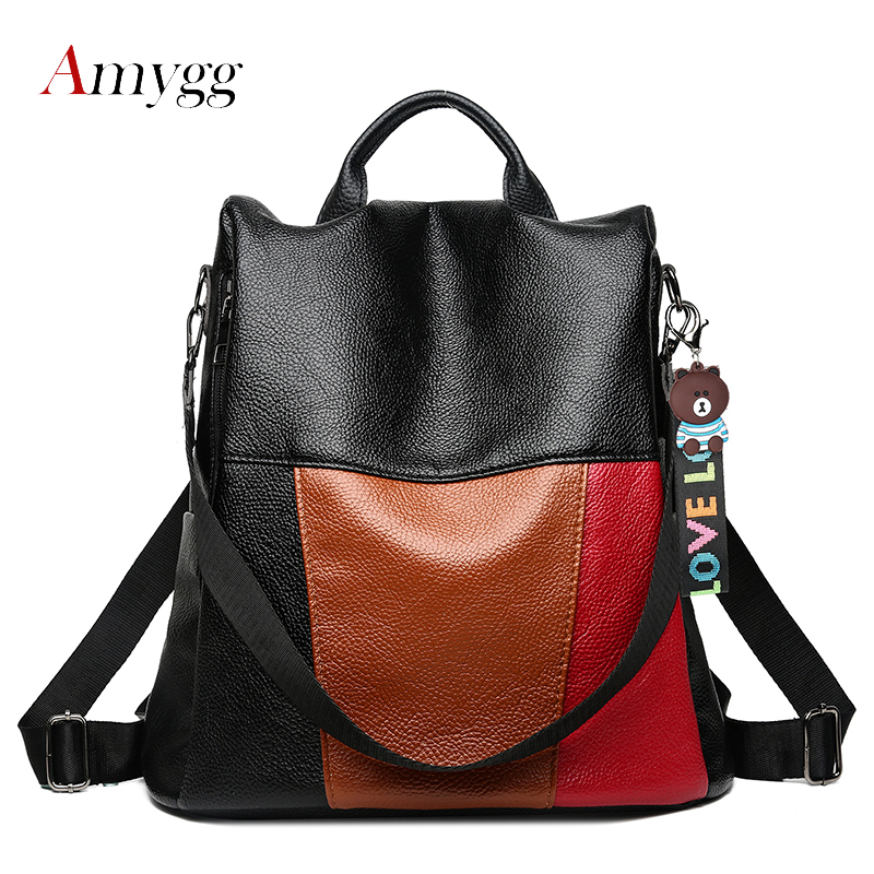 Women's Multifunction Anti Theft Backpack Pu Leather Shoulder School Bags For Teenage Girls Patchwork Panelled Travel Backpack
