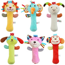 Baby Toys 0-12 Months Rattles Educational for Newborns Hand Grasp Stick Bell with BB Device Toy Puzzle Plush