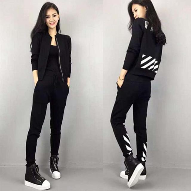 Black Sportwear Hoodies Tracksuits Women Set Long Sleeve Cotton Full Pants Slim Fit Women Suit Two Pieces Set