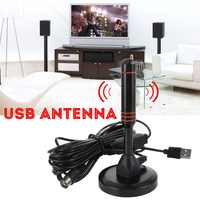clear Portable 25DB 500 miles 1080P HDTV Antenna TV Digital Indoor outdoor satellite dish Signal Flat Receivers With USB Tuner