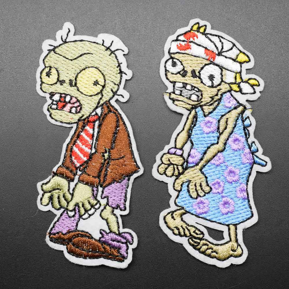 Plant Zombie Iron On Embroidered Clothes Patches For Clothing Stickers Garment Wholesale