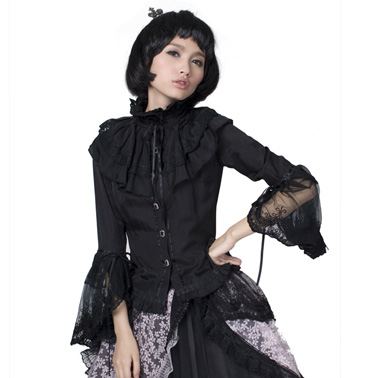 PUNK RAVE Lolita style black flare sleeve knitted shirt with lace decorated