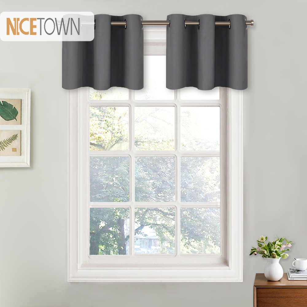 US $7.56 10% OFF|NICETOWN Blackout Valance Curtain Thermal Insulated Eyelet  Top Drape Panel for Kitchen Half Window Tier Valance 1 Panel-in Curtains ...