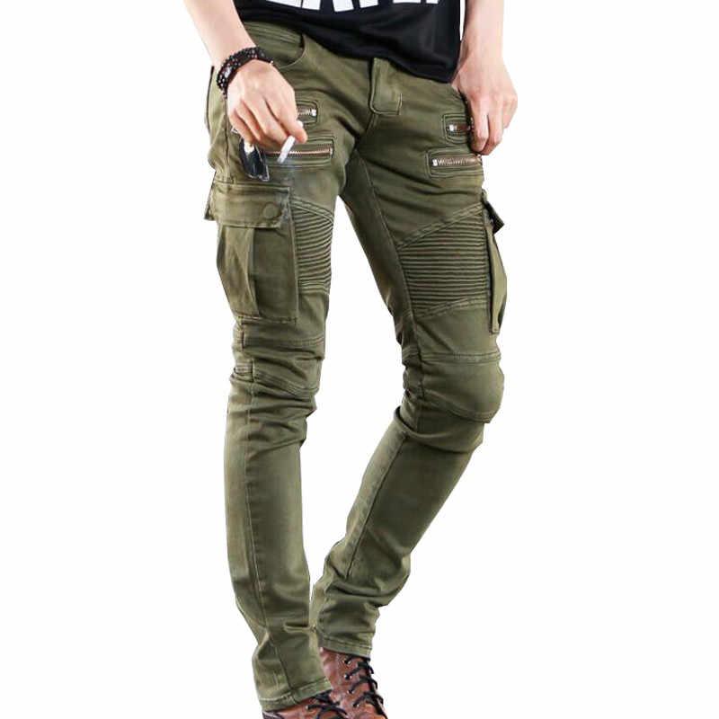 Moruancle Pantalones Vaqueros Cargo Para Hombre Pantalon De Mezclilla Verde Militar Con Varias Cremalleras Y Bolsillos Motorcycle Denim Pants Biker Jeansdesigner Biker Jeans Aliexpress