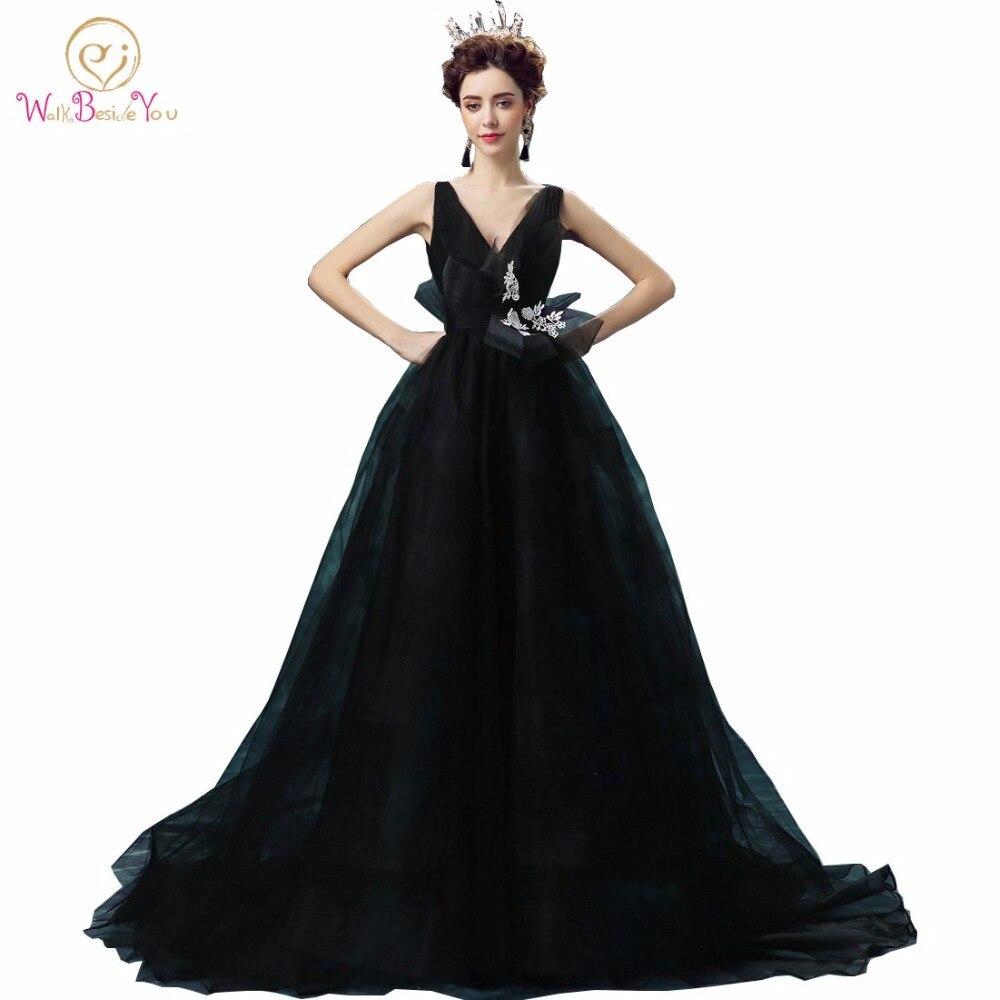 Elegant Black Evening Dresses A line Deep V neck A line Long Floor Length Sweep Train