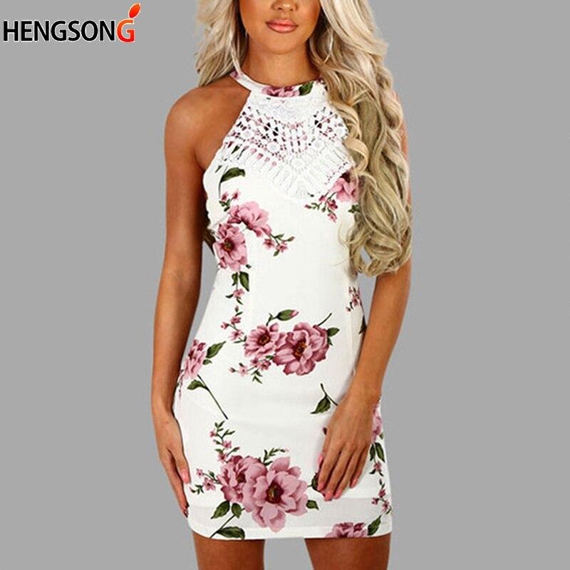 Casual Backless Boho Beach Short Vestidos Sleeveless Floral Print Mini Sexy Cross Back Halter Bodycon Dress christmas dress