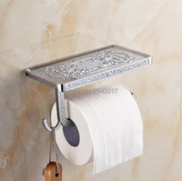 Newly Bathroom Accessories Toilet Roll Paper Holder With Phone Rack High Quality Wall Mounted Chrome Finish