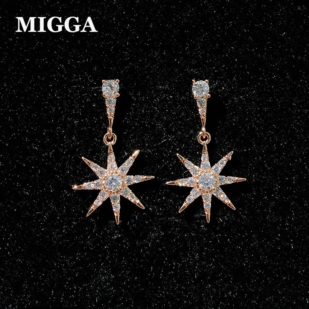 MIGGA Delicate Rose Gold Color CZ Zircon Star Pendant Stud Earrings for Women Girls Cubic Zirconia Jewelry
