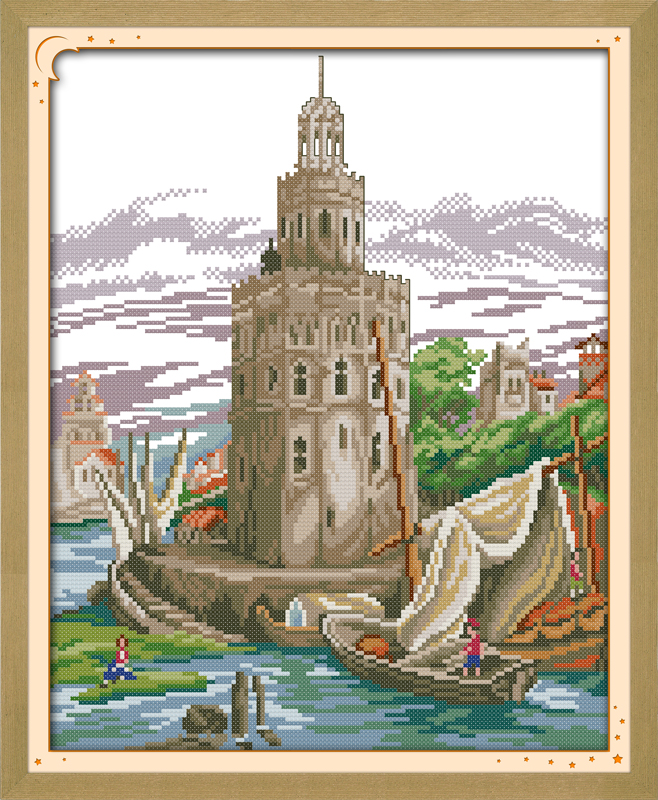 Home On Gardent Ct: Seaside Castle Cross Stitch Kit Lanscape Garden 14ct 11ct
