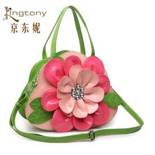 Free shipping New green stereoscopic set with diamonds pink flowers Handbags
