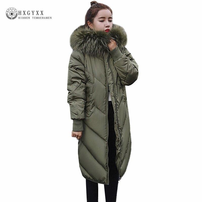 2017 New Snow Wear Big Fur Collar Ladies Coats 2017 Winter Jacket Women Fur Hooded Parka Long Slim Warm Quilted Outerwear Oka788