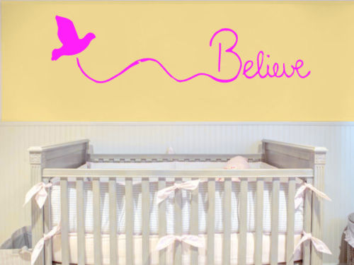 Wall Decals Quotes Sticker Bedroom Decor Believe Lettering Cute Bird ...