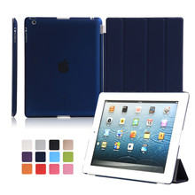 Smart Case For iPad 2 3 4 pu leather with hard pc matte transparent back cover 9.7 inch magnetic auto sleep