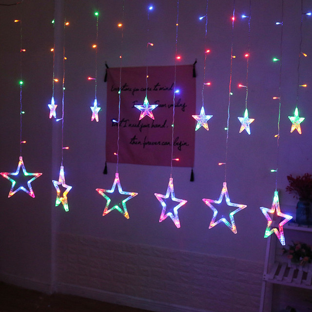 LED Curtain String Light Christmas LED Stars Hanging Curtain Lights String  Net Xmas Home Party Decor - LED Curtain String Light Christmas LED Stars Hanging Curtain Lights