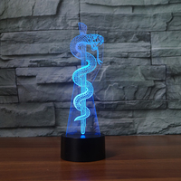 NEW ARRIVAL Cartoon Snake Bass 3D LED LAMP NIGHT LIGHT For Home Decoration Student Birthday Christmas