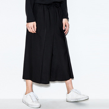 M-6XL!!Spring and summer fashion brief male cropped loose all-match elastic casual wide leg pants 1