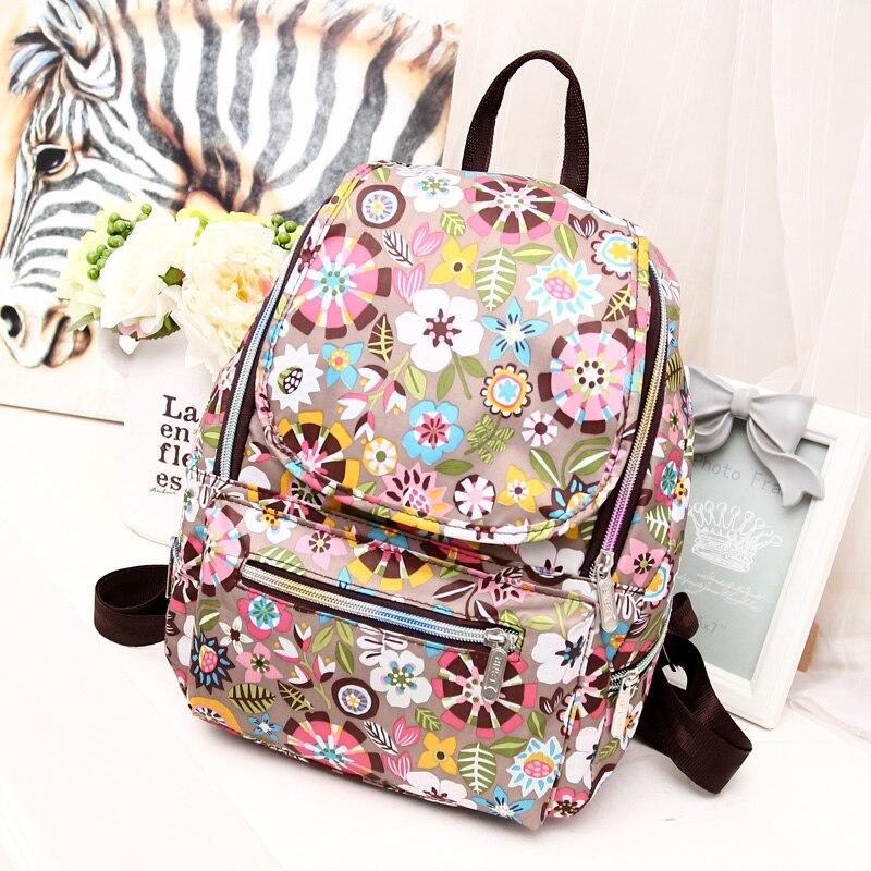 6 Colors Vintage Printing Women Backpack Female Floral nylon Backpack Fashion School Bag small travel Mochila