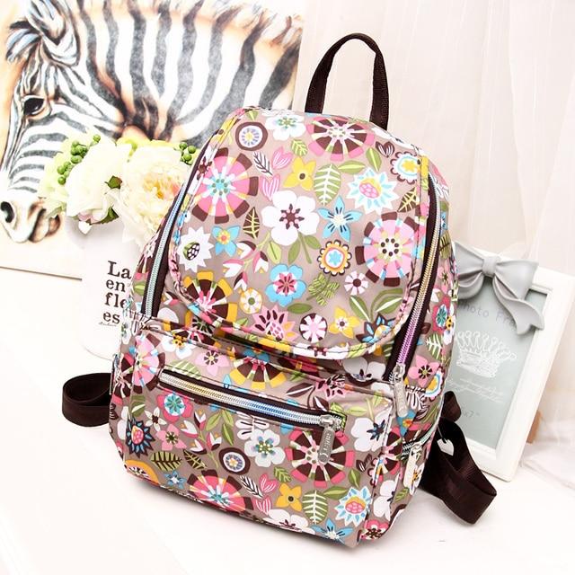 6 Colors Vintage Printing Women Backpack Female Floral nylon Backpack Fashion School Bag small travel Mochila Feminina