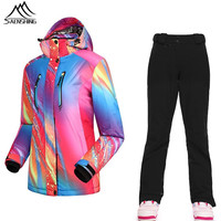 SAENSHING Waterproof Snowboard Suit Skiing Jacket Pants Winter Thermal Thicken Snow Sportswear Breathable Outdoor Ski Suits