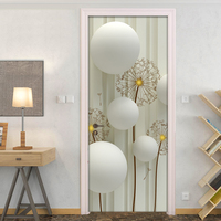 Modern Simple Abstract Art Circle Ball Dandelion Striped Background Wall Decoration Door Sticker PVC Waterproof Mural