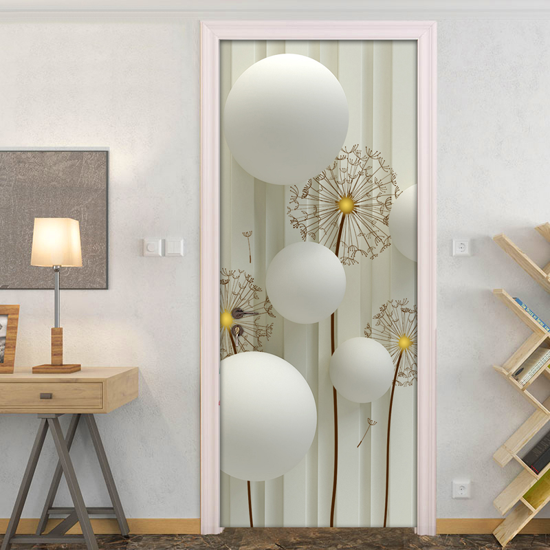 Modern Simple Abstract Art Circle Ball Dandelion Striped Background Wall Decoration Door Sticker PVC Waterproof Mural Wallpaper