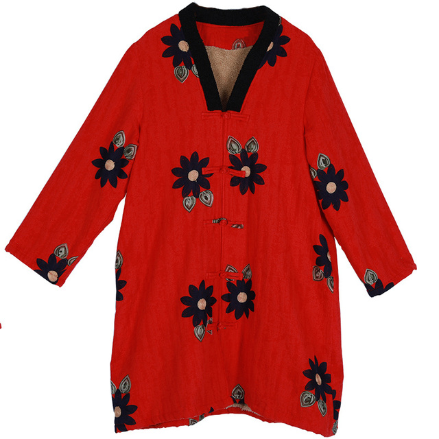 Chinese Style Cotton//Linen Outwear Embroidery Womens Jacket Floral Coat Size