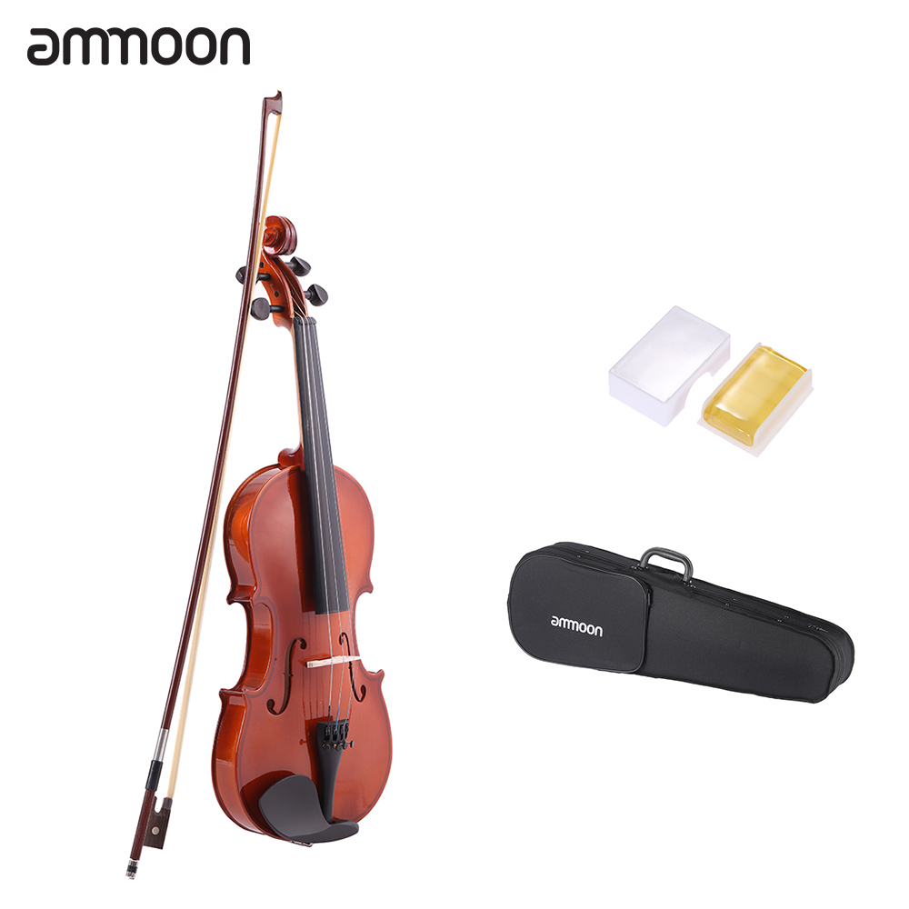 ammoon 1/4 1/2 3/4 4/4 Natural Acoustic Violin Fiddle Spruce with String Case Arbor Bow Stringed Instrument for Music Lovers