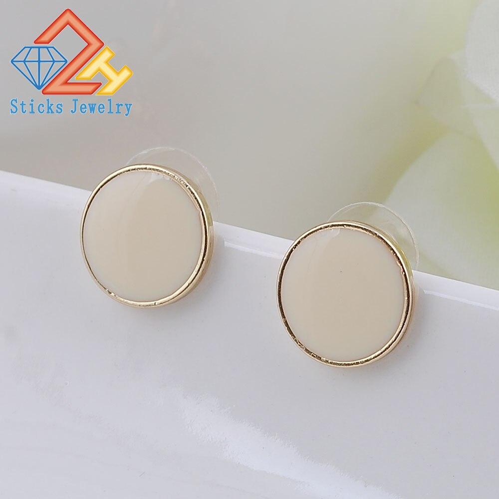 2015 new design! New fashion designer brand classic beige enamel earring free shipping