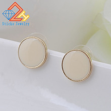 2015 new design! New fashion designer brand classic beige enamel earring free shipping