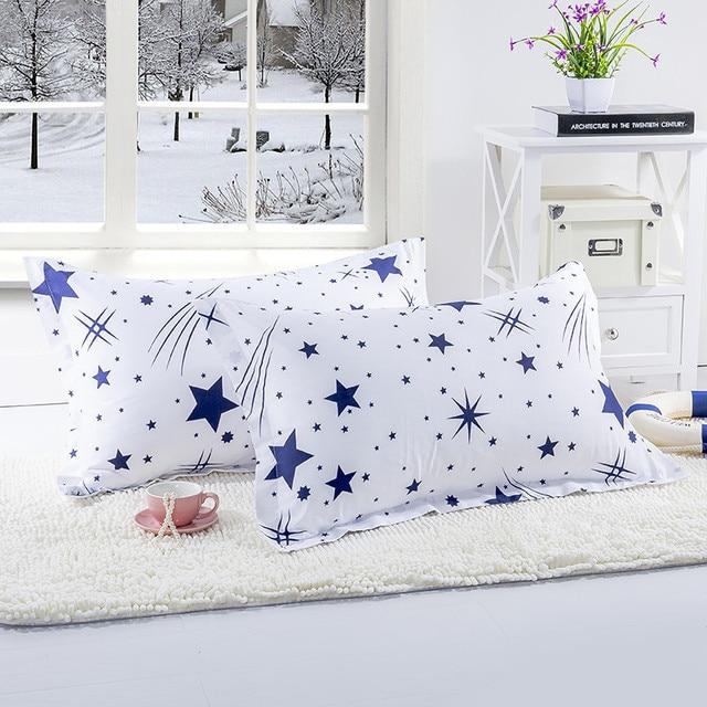 1 pezzo di Colore Bianco Blu Stelle Coperture per Cuscini Per Uso Camera Da Lett