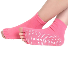 3 Pair/Lot Women Non Slip Half Toe Yoga Socks Ladies Breathable Sweat Absorbent Sport Massage Pilates Ballet Gym Fitness