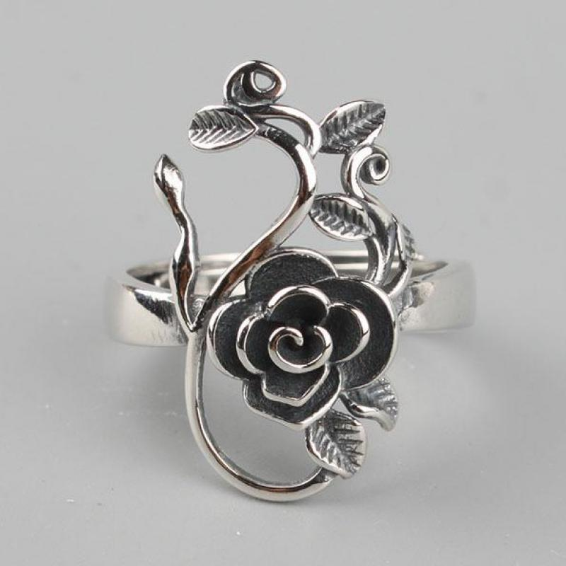 Vintage Real Pure 925 Sterling Silver Branches Rose Flowers Rings For Women Thai Silver Adjustable Elegant Jewelry Ring 925 pure silver ring crystal vintage ring thai silver rose manjaris women flower ring