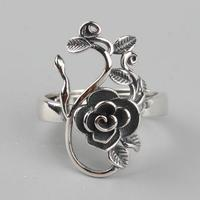 40b65fec2dfb Vintage Real Pure 925 Sterling Silver Branches Rose Flowers Rings For Women  Thai Silver Adjustable Elegant
