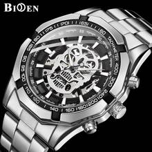 BIDEN New Men's Fashion Sport Mechanical Watch Casual Men Stainless Steel Watches Man Chronograph Wristwatch Relogio Masculino(China)