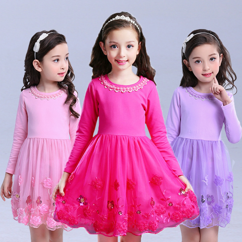 Autumn Flower Toddler Girls Dress 2017 New Fashion Kids Party Clothes Long Sleeve Children's Princess Dresses for Teens Girls uoipae party dress girls 2018 autumn